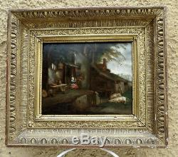 Beautiful & Rare Flemish Painting Xvii. Couple Old Farmers With Two Pigs