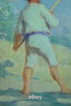 Beautiful Table Ancient Impressionist Portrait Of Paludier Salt Salt Marsh Summer