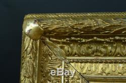 Beautiful Table Ancient Landscape Stylized Arboré Signed Pierre Billet Frame Golden Hsp