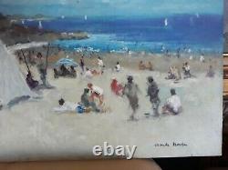 Beautiful Table Oil On Isorel Beach De Nice Sign Claude Marin