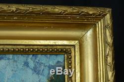 Beautiful Table Provencal Landscape Signed Henri Baret 1936 Gilded Wood Frame Marseille