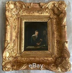 Beautiful Unusual Stove And Nice Old Painting On Wood In Excellent Condition