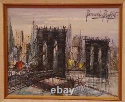 Bernard Buffet (after) Oil On Sign Shd Bridge Of Brooklyn Circa 1968