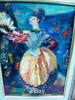 Berthomme St-andre (1905-1977) Dancer With The Fan Beautiful Oil On Wood