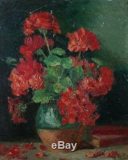Bright & Powerful Painting 1900. Still Life With Red Geraniums. Martin