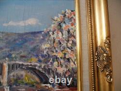 Bruno Retaux Very Beautiful Oil The Bridge To The English Rouen