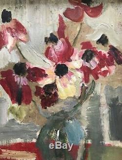 Camille Descossy Table Hst Painting Flowers Bouquet 1967 Ceret