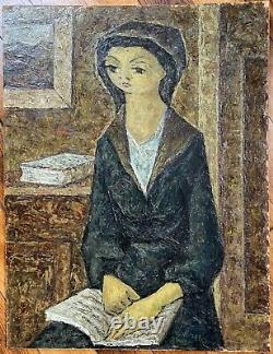 Catalan Painting USA Portrait Of Young Woman Painting By Jean Lareuse 1925-2016