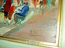 Cathedral Of Notre Dame Paris Oil Painting On Wood Signed In 1950 65 X 57