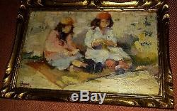 Charles Hermans 1839-1924 Small Oil Orientalist Impressionist Orientalist