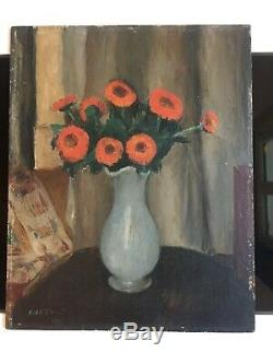 Charles Kvapil (1884-1957) Bouquet Of Flowers Oil On Panel