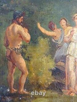Charmant Romantic Peinture 19th Auror Study & His Char-l'esprit Delacroix