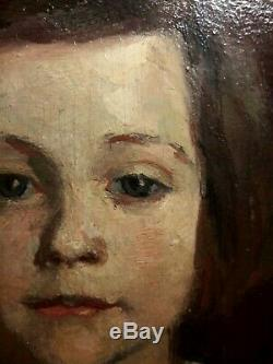 Charming Picture Old Oil On Wood Young Woman Wooden Gilt Frame Portrait
