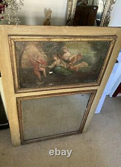 Cream Lacquered Wooden Haze Mirror With Oil On Canvas Decoration