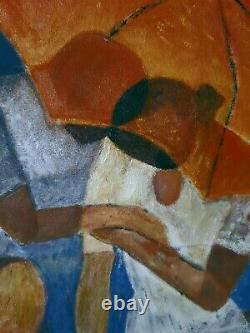 Cubist Painting Oil On The Lovers Of The Lyon Painter A. Manjot 20th