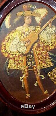 Cuzco School Peru Archangel Playing Guitar Oilboard