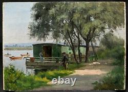 Dashboard Landscape Impressionist Oil Washing River Boat Fishing Fisherman