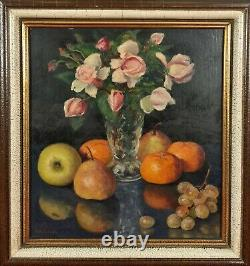 Dead Nature. Flowers And Fruits. Enric Modolell. Oil On Table. Xxe Century