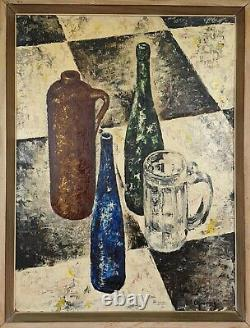 Dead Nature With Bottle. Oil On The Table. Aymerich Ollé. 10th Century