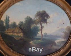 During Paintings Animated Landscape Nineteenth Mountain And River Signed Legrand Tondo