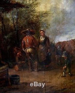 Dutch School Eighteenth, Oil On Panel, Scene Paysanne
