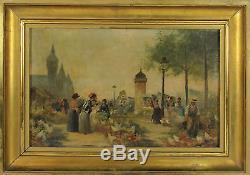 E2-036. Market Scene. Oil On Panel. Signed F. Vogler. The XIX Century