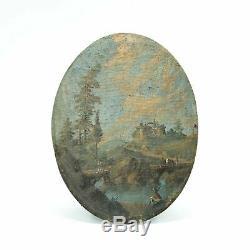 Early Nineteenth Century Painting, Oil On Wood Landscape, Life Scene