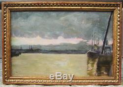 Ecole De Rouen Painting Oil Seine Crepuscule Evening Boats Peniches Port France