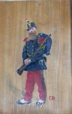 Edouard Detaille (1848-1912) Study Of Soldier Ca 1870 Oil On Wood Monogram