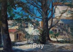 Edward Leon 1873-1868. Grand & Bel Impressionist 1921. A Cedre A Puyricard