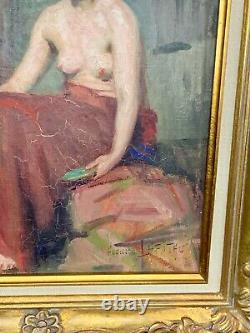 Elegant Oil On Canvas Representing A Naked Woman, Signed Augusta Lafitau