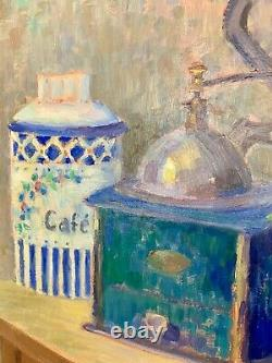 Elegant Oil On Canvas, Still Life At The Coffee MILL Signed Nicolai