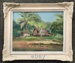 Emilio Ambron Painting 1943 Original Painting Landscape Of Bali Uvre Rare