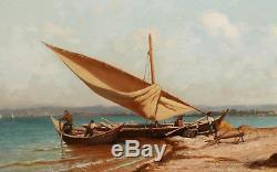 Etienne Billet Painter Painting Marine Landscape Marseille MIDI France Oil Boat