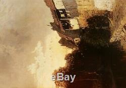 Eugene Deshayes Landscape Oil Painting Normandy Woman Riverside Cottages