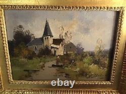 Eugene Galien Laloue- Oil On Wood By Léon Dupuy Xixeme Church Village