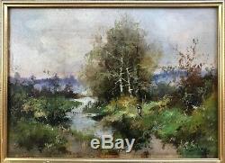 Eugene Galien Laloue Table Landscape Painting Hsp Barbizon Sun 24x33 / 4f