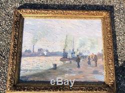 Eugène Tirvert Impressionist Painting Bords De Seine In Rouen Hsp Dated 1903