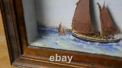 Exceptional Marine Painting With Relief Scottish Fishing Boat 1919 Authentic
