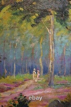 Family Walk In Undergrowth 1925 By Jules Chevret, Post-impressionist