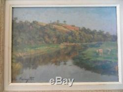 Felix Planquette 1873/1964 Oil On Panel Cow Riviere Sign Down Left