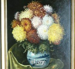 Flowers In A Vase Grand Table Ancient 19th Signed In Red On Mahogany Wood