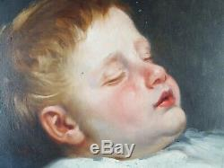 Former Child Asleep Table Antique Oil Painting Oil Painting Old Dipinto