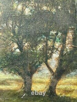 Former Golden Wooden Frame Pair Painting On Orientalist Wood Painting