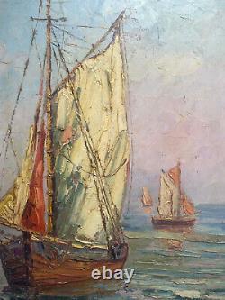 Former Painting Hsp Mediterranean Marine Sailors Signed Larville + Frame