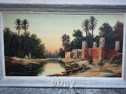Former Painting Orientalist Painting North Africa Emile Jantet 70 X 130 CM