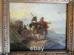 Former Painting Signed Richards Battle Scene Of The 17th Cannon Cannon Soldiers