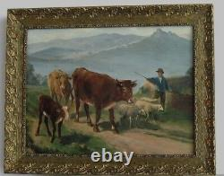 Frame Ancien Bois Dore Oil Painting On Canvas Herd Vaches, Sheep