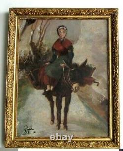 Frame Ancienne Bois Dore Oil Painting On Canvas Peasant And Ane