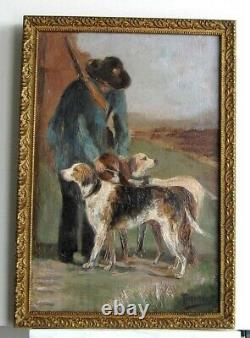 Frame Ancient Wood Dore Oil Painting On Canvas Hunter And His Dogs